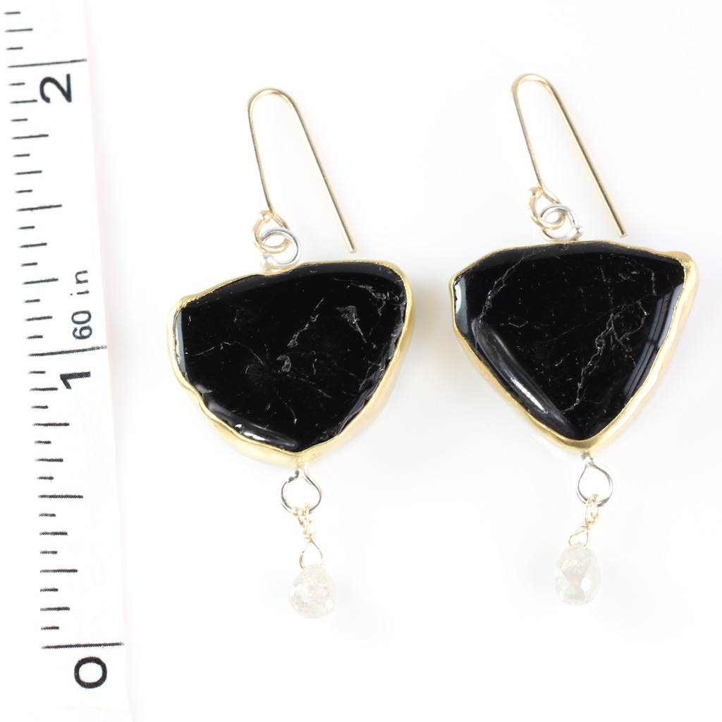 Black Tourmaline Slice Earrings With Diamond Briolettes