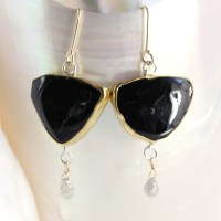 Black Tourmaline Slice Earrings With Diamond Briolettes