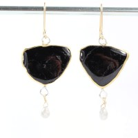 Black Tourmaline Slice Earrings With Diamond Briolettes ...