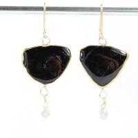 Black Tourmaline Slice Earrings With Diamond Briolettes ...