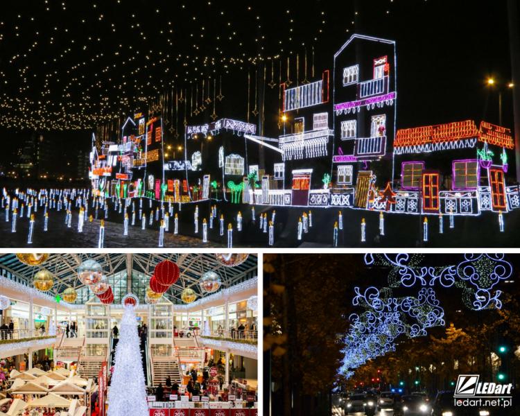 wąż świetlny led dekoracje świąteczne w mieście