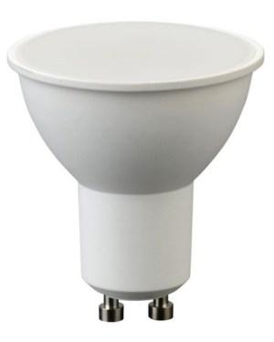 Led GU10 spot égő 5W, 460 Lumen, tejes búra, 40W izzó helyett. 2700K, meleg fehér, átlátszó búrával. 3 év garancia
