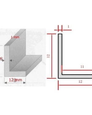 Alusín L profil led szalaghoz 12x12x1mm, 2 méter hosszú.