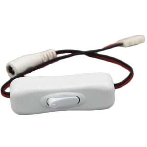 DC tápcsatlakozóval és led szalag gyorscsatlakozóval szerelt kapcsoló, 10mm led szalaghoz, a muanyag tápegység közvetlenül bele dugható! 12V, 3A, fehér színu