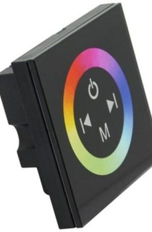RGB led szalag vezérlő, 144W, rádiós, érintő paneles, fali.