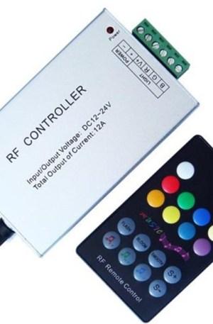 RGB hangvezérelt led szalag vezérlő, 144W, rádiós, 18 gombos, zenére váltja a színt