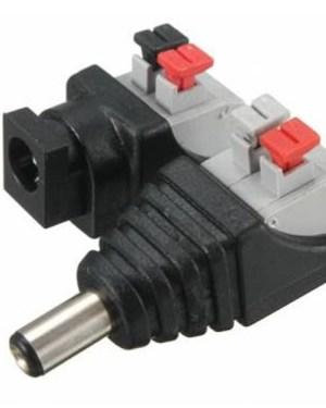DC aljzat és dugó, normál 2.1mm-es méretű csatlakozóval.