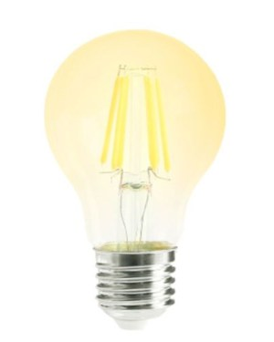 Led Filament körte égő 6W, borostyán bura, 45mm, 500 Lumen, 50W izzó helyett. E27, 2000 kelvin, extra meleg fehér, nem vibrál a fénye!