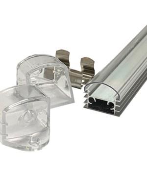 Alusín alu profil szett IP44 vízálló, átlátszó fedővel, bármilyen led szalaghoz! 2m sín+ tejes takaró+ 4 db rögzítő+ 2 db végzáró.