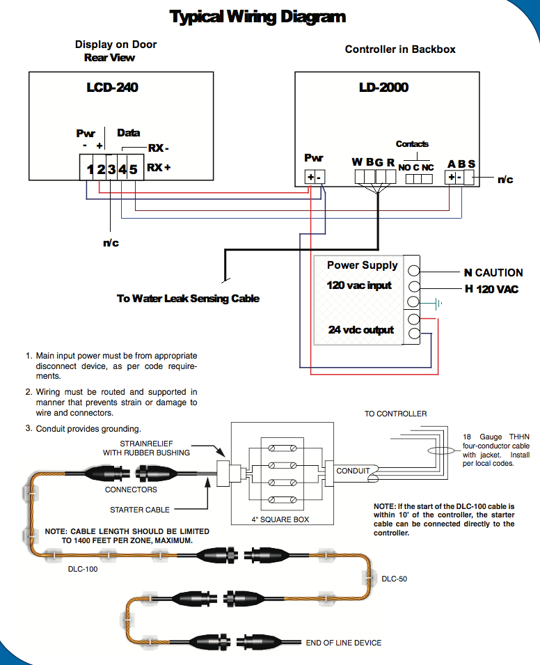 Distance Water Leak Detection Wiring Diagram