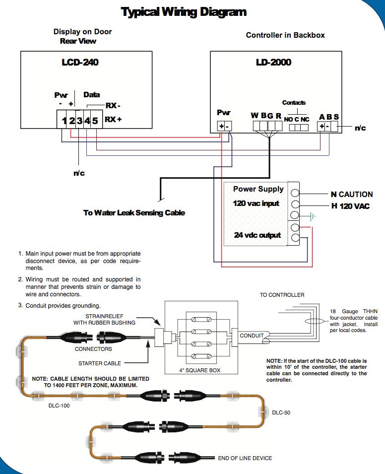 Distance Water Leak Detection Wiring Diagram