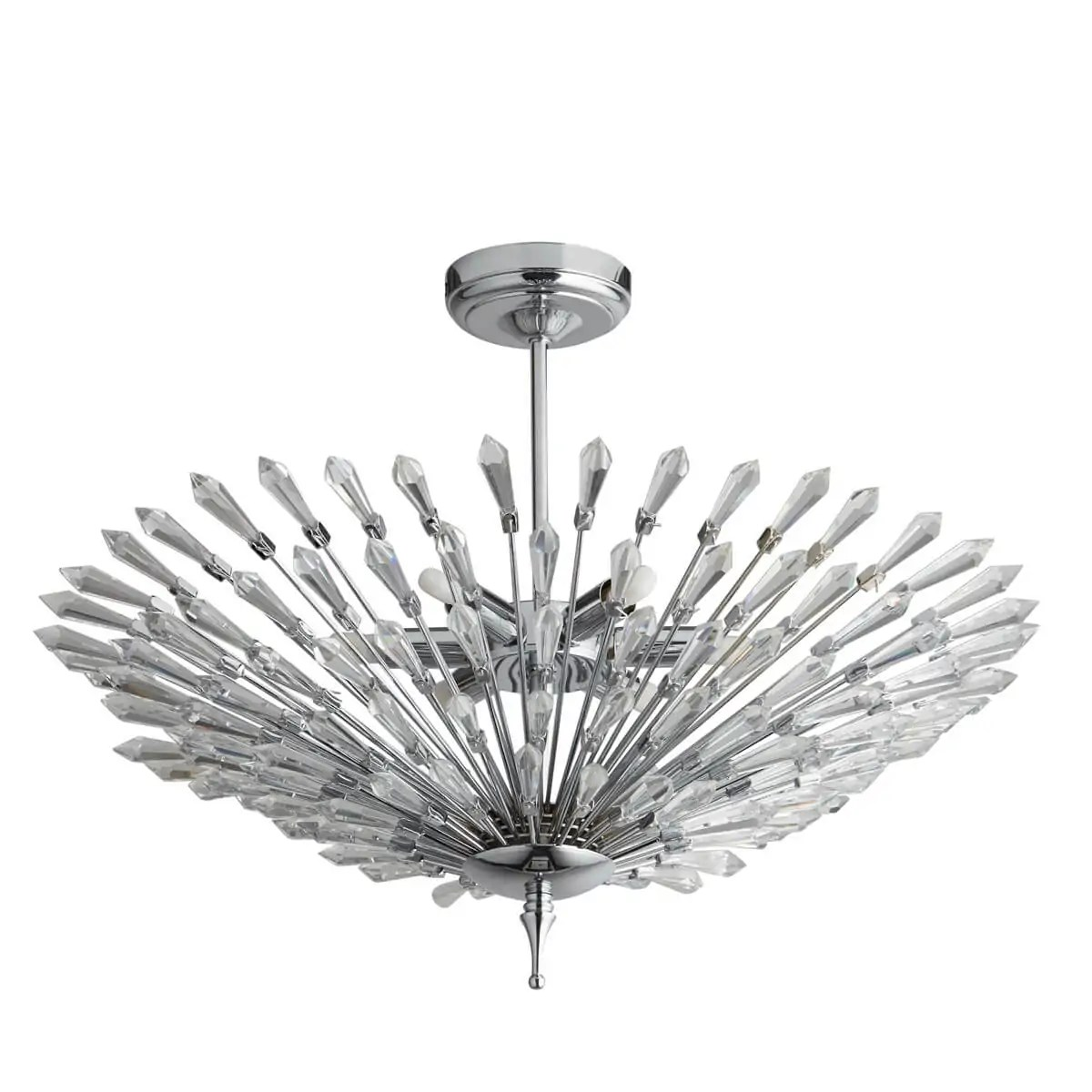 Fan 6 Light Ceiling Semi Flush Chrome Clear Glass Trim