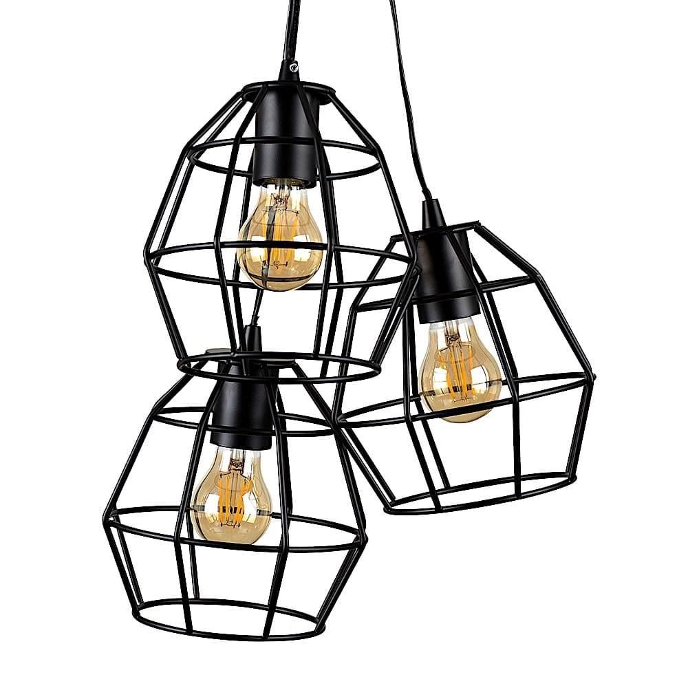 Angus 3 Way Satin Black Basket Ceiling Electric Pendant