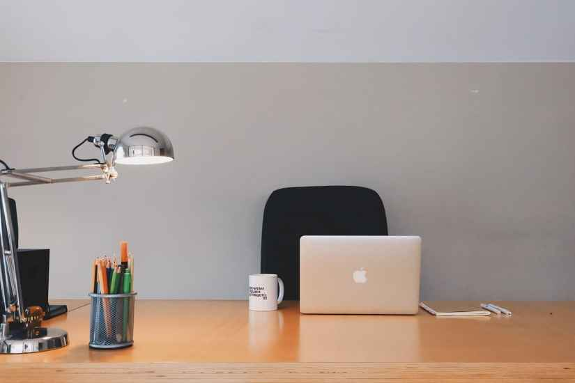 Table lamp and a laptop