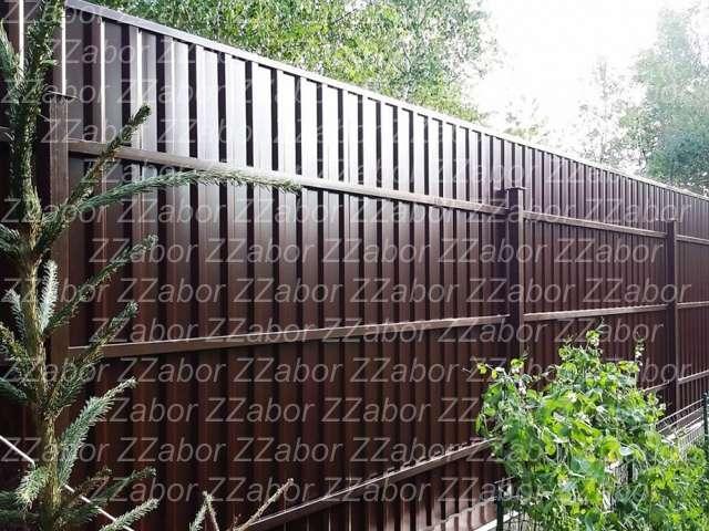 Сосново, Советская ул., Двусторонний забор из профлиста, откатные ворота, Цена с установкой 59560 рублей