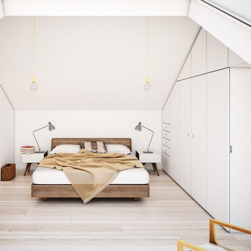 modern bed with white vaulted ceilings.