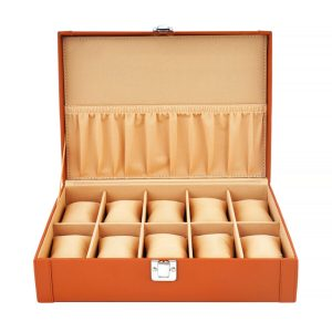 LEDO Watch Box Holder Organizer Case for Men and Women in Tan Color with 10 Slots of Watches
