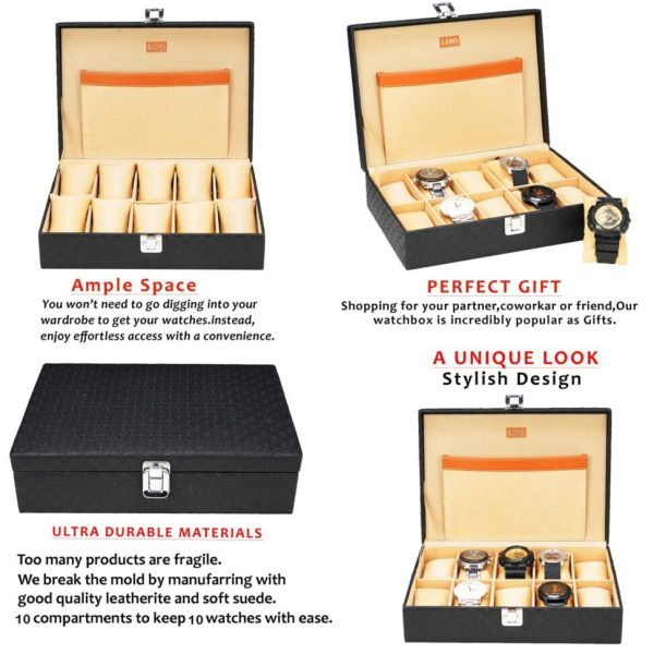 LEDO Watch Box Organizer Storage Case for Men and Women in Black Color with 10 Slots of Watches