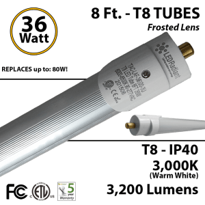 8 ft T8 LED Tubes 8 foot fluorescent replacement | LEDRadiant