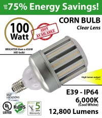 100w LED Corn Bulb Lamp Replaces 450 Watt HPS Light 12800