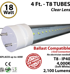 18w 4ft led t8 tube light 2100lm 4000k clear ballast compatible [ 1272 x 1276 Pixel ]