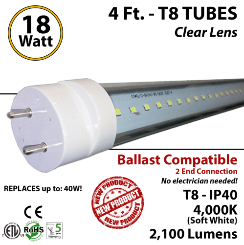 small resolution of 18w 4ft led t8 tube light 2100lm 4000k clear ballast compatible
