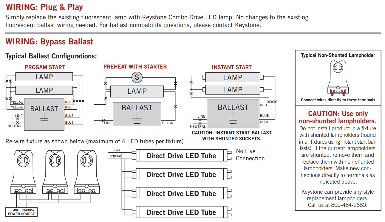 wiring diagram for led tube lights amoeba structure keystone 4' combo drive 15w glass coated t8 bypass direct