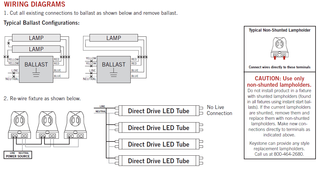 t5 ho ballast wiring diagram cat5 type a keystone kt-led25t5ho-48gc-850-d direct drive 4' 25w led tube 5000k