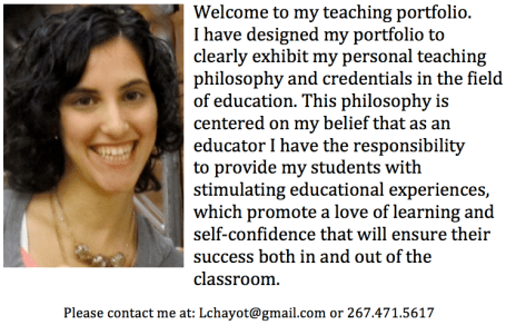 Lee Chayot's Teaching Portfolio Teaching Portfolio