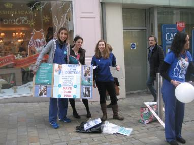 Junior Doctors with banner out in the street in leeds for #meetthedrs