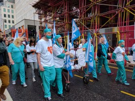 GMB doctors and nurses marching