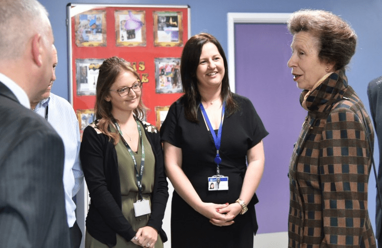 Youth Justice Service colleagues Leanne Smith and Claire Duguid meeting HRH The Princess Royal