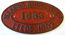 Nameplate for Leeds firm Manning Wardle , who built Nellie for the Sierra Leone Government Railway in 1915.