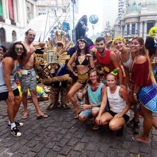 Group photo of attendees at Carnaval in Rio de Janeiro