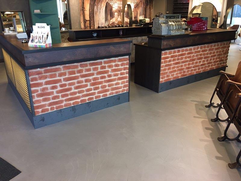 Leef beton winkelvloer u betonlook vloer met pu coating kapsalon