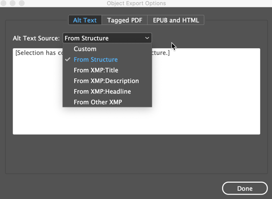 The Alt text dialogue in InDesign.