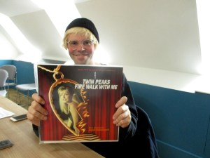 Tim Burgess with the LP soundtrack Twin Peaks: Fire Walk With Me