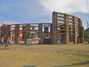 Pallet dancers: Sziget's fork-lift built rave arena