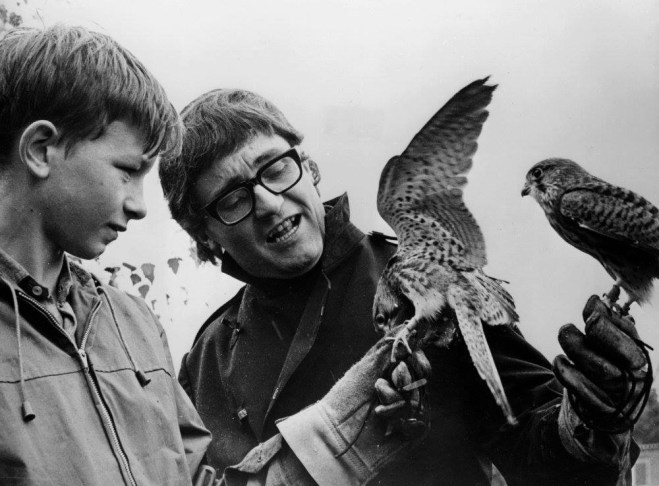 David Bradley and Tony Garnett on the set of Kes, 1968