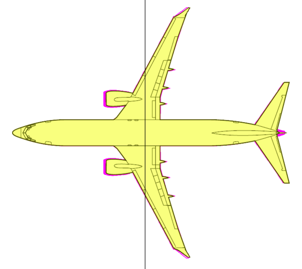 medium resolution of figure 2 the 737 800 yellow overlaid on the 737 max 8 purple with the line denoting the cg in pitch source leeham co and 737 acap