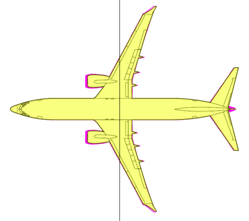 small resolution of figure 2 the 737 800 yellow overlaid on the 737 max 8 purple with the line denoting the cg in pitch source leeham co and 737 acap