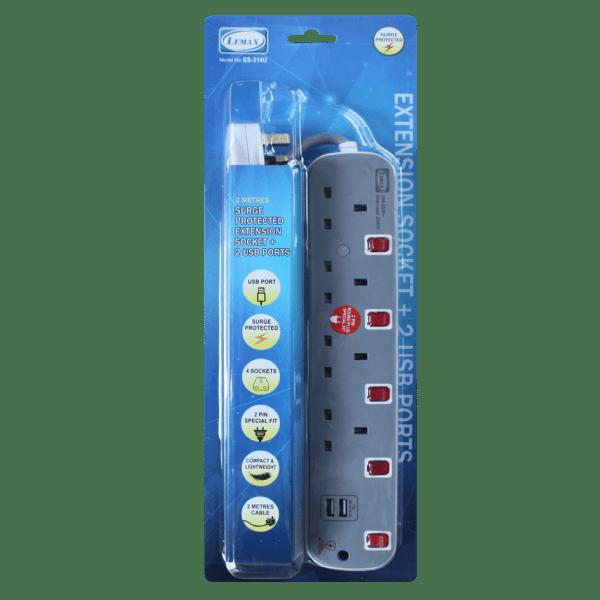 LEMAX USB Extension Socket (Grey) ES-314U Packaging