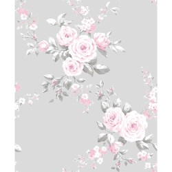 Catherine Lansfield Canterbury Floral Wallpaper Grey & Pink
