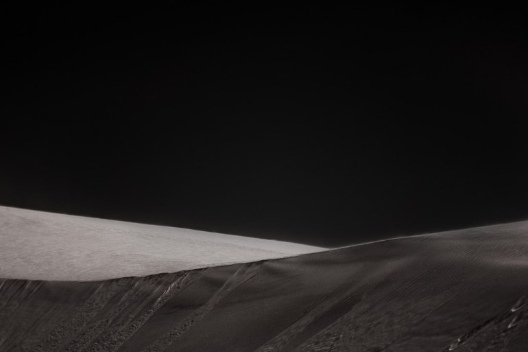 black and white abstract desert dune fine art nature photography