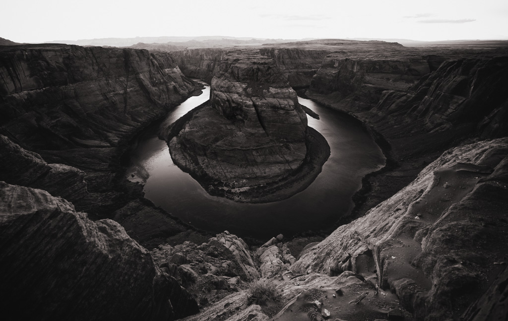 horsehoe bend art print black and white photography