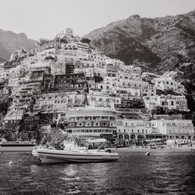 black and white positano italy art photography amalfi coast artwork
