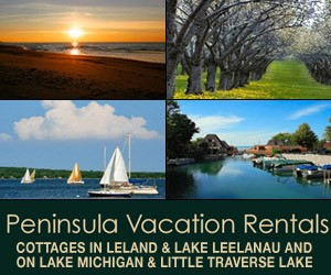 Rental cottages in Leland, Lake Leelanau and on Little Traverse Lake & Lake Michigan