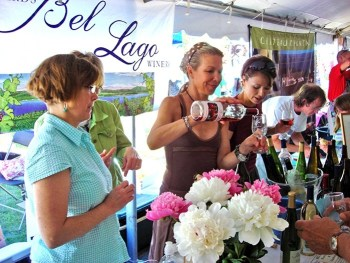 Pouring for Bel Lago Winery at the Leland Wine Festival