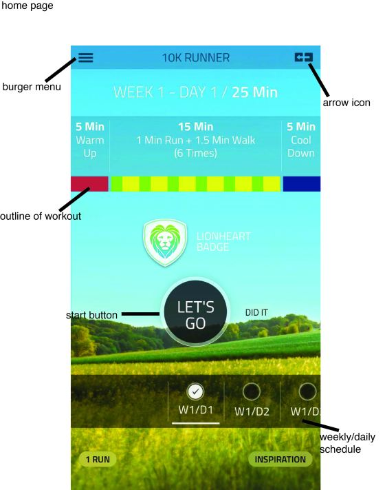 Image:Fitness22.LTD(2011). 10k runner: 0 to 5k to 10k Trainer. Run 10k [screenshot] Retrieved from 10krunnerapp