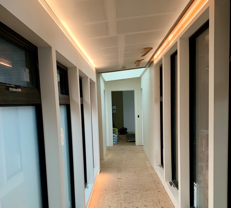 hallway with led lights